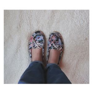Floral Print Sequin Loafers